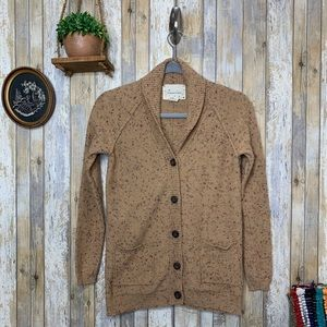 UO C&C Tan Speckled Button Front Cardigan
